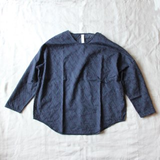 sneeuw/グリッド刺繍プルオーバー(ネイビー)【price down】