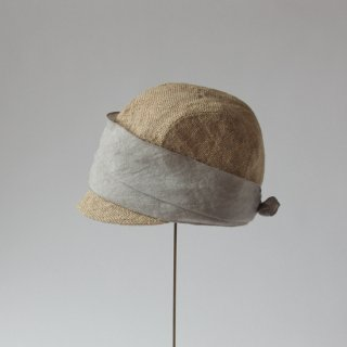 mature ha./jute scarf cap (grey+navy)
