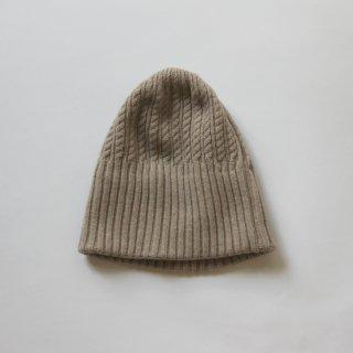 mature ha./long rib knit cap tiny rope lamb(light beige)