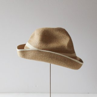 mature ha./BOXED HAT 11cm brim switch color line(mix brown×white)