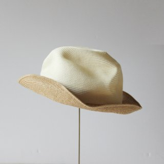 mature ha./BOXED HAT 6.5cm brim 2tone color(white×mix brown)