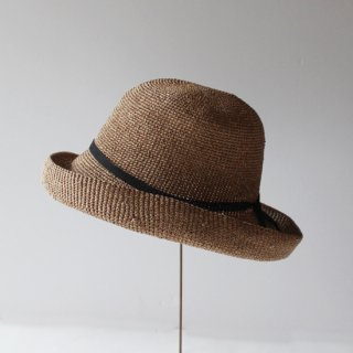 mature ha./paper crochet hat wide(mix brown)
