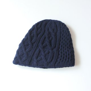 mature ha./slant cutting knit cap aran2 lamb(navy)