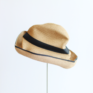 mature ha./BOXED HAT 11cm brim switch color line wide(mix brown×black)