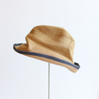 mature ha./BOXED HAT 11cm brim switch color line edge(mix brown×charcoal)
