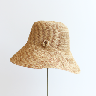 mature ha./raffia hat wide ornament(light brown)