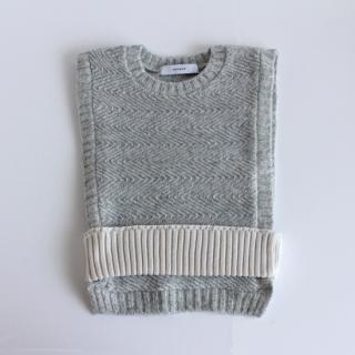 sneeuw/ニットベルテッドベスト(grey×white)【price down】