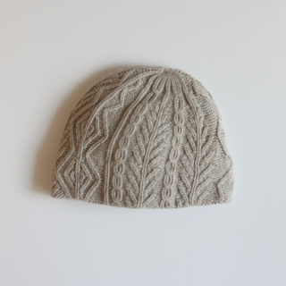 mature ha./slant cutting knit cap aran3 lamb(light grey)