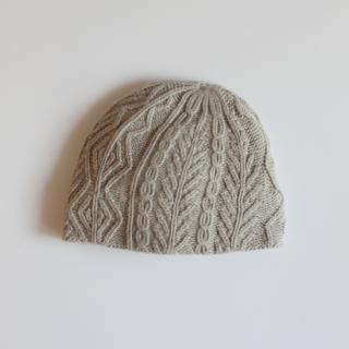 mature ha./slant cutting knit cap aran3 lamb(light grey)