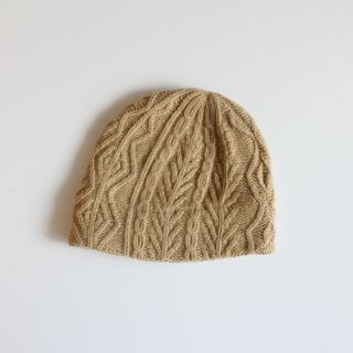 mature ha./slant cutting knit cap aran3 lamb(light camel)