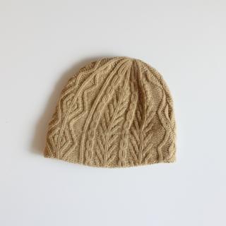 mature ha./slant cutting knit cap aran3 lamb(light camel)