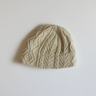 mature ha./slant cutting knit cap aran3 lamb(natural)