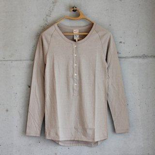 Healthknit/スーパーソフトジャージーヘンリーネック長袖Tシャツ(beige)