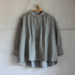 Hands of creation/Japan Linen 2WAY 釦ギャザーシャツ(グレー)【price down】