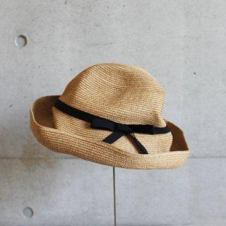 mature ha./BOXED HAT 11cm brim grosgrain ribbon(mix brown×black)