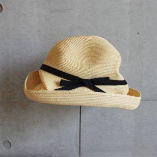 mature ha./BOXED HAT 11cm brim grosgrain ribbon(natural×black)