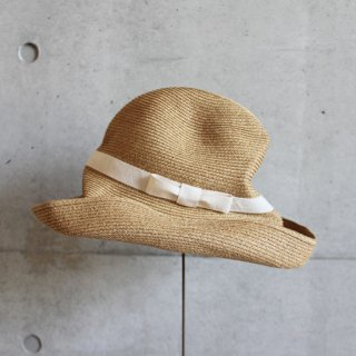 mature ha./BOXED HAT 11cm brim plain tape(mix brown×natural)