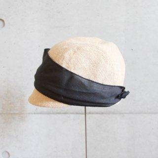 mature ha./jute scarf cap (grey+black)