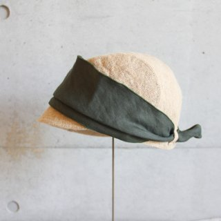 mature ha./jute scarf cap (grey+olive green)