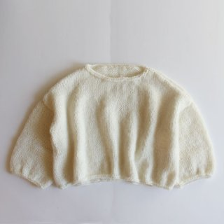 NIDO/3/4 SLEEVE MOHAIR SWEATER(white)