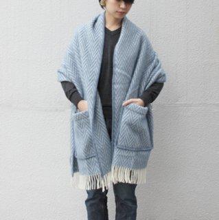 LAPUAN KANKURIT/IIDA ポケットショール(ブルー×ホワイト)