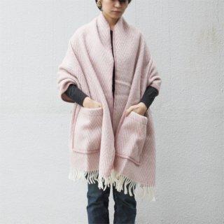 LAPUAN KANKURIT/IIDA ポケットショール(ピンク×ホワイト)