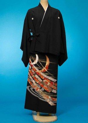 TKN101ワイド二部式留袖&留袖ドレスレンタル 裄65-69身長145-165ヒップ102-122バスト92-112)正絹  肩幅や腕短めの方