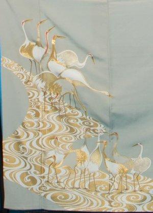 TI540色留袖レンタル 裄67(身長143-163ヒップ77-102) 正絹  薄グリーン 金彩 流水に鶴 作家物