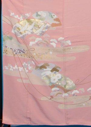 TI541ややトール色留袖レンタル(裄64-68身長146-166ヒップ76-101) 正絹  薄ピンク 末広