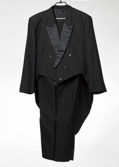 TA7K-43テールコートレンタル(身長180-185 肩幅56.5袖丈60ウエスト120-132)黒ストライプ 燕尾服