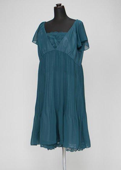 HD23-15 ゲストドレスレンタル 23号5L 濃いグリーン 胸元レースでプリーツスカート ウエスト96cm