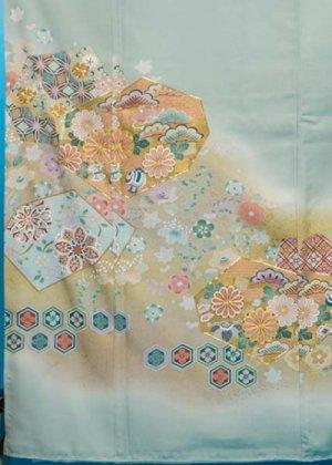 TI-550トールワイド色留袖レンタル(裄72-74身長152-172ヒップへそ回り88-118バスト78-108)正絹 青磁色 ミントグリーン