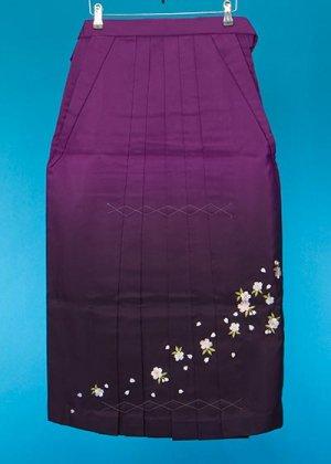 HA87-18女子袴レンタル(身長150-155)紫ぼかし 桜刺繍