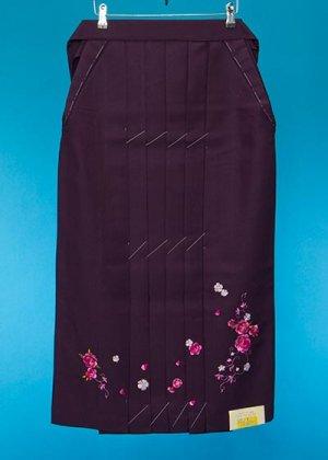 HA87-20ややワイド女子袴レンタル(身長150-155ヒップ70-110)紫ぼかし 桜  前幅広め