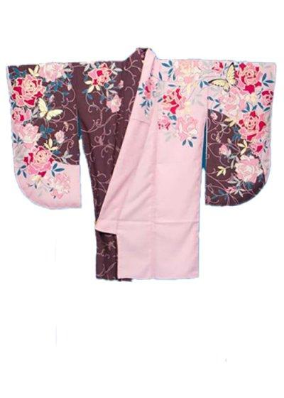 S445小振袖レンタル 裄71(ヒップ72-102) ピンク/ボルドー 薔薇 [CECIL McBEE]セシルマクビー 【新品同様】