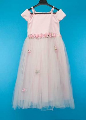 G125-10子供ドレスレンタル(身長125前後) ピンク フレンチ 花