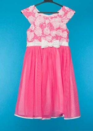 G135-12子供ドレスレンタル(身長135前後) ピンク 白の巻きバラ