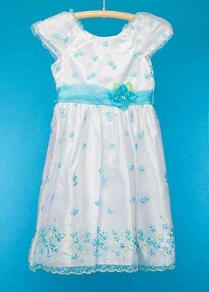 G135-13子供ドレスレンタル(身長135)白に水色の花刺繍
