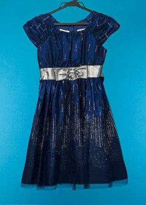 G135-16子供ドレスレンタル(身長135) 紺色 銀ラメ バラ