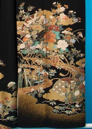 TP1121トール留袖レンタル 裄69-71(身長153-173ヒップ77-102) 金彩 牡丹