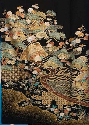 TP120トール留袖レンタル 裄70(身長153-173ヒップ78-103) 金彩 松に扇子