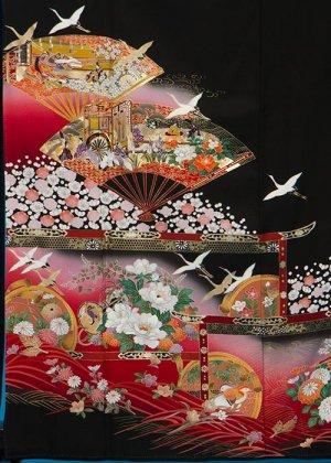 TK252留袖レンタル裄67(身長147-164ヒップ75-98)正絹 鶴に末広  赤ぼかし