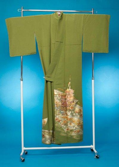 TS148トール訪問着レンタル 裄72(身長152-172ヒップ69-109)正絹 グリーン系 抹茶色 金彩 祇園祭 鉾