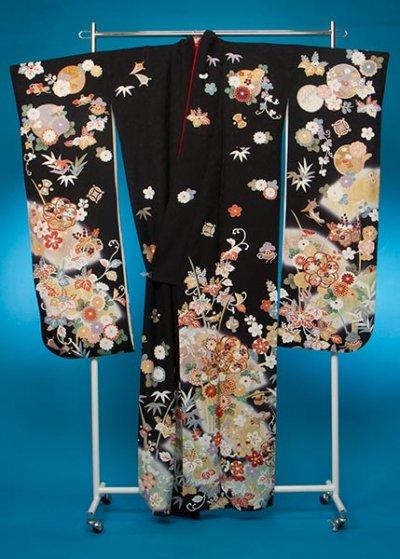 F636トール振袖レンタル 裄72(身長153-173ヒップ72-102) 正絹 黒系 桐の花【新品同様】