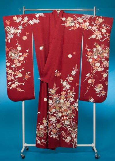F635トール振袖レンタル 裄71(身長149-169ヒップ70-100) 正絹 濃い赤系 【新品同様】