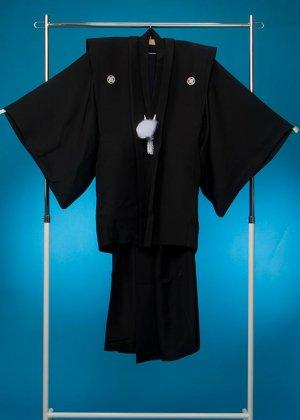 MP76-28トール紋付レンタル 裄76(身長180 胴回り75-105) 黒  ゆみ肩衣[桂由美] 【新品同様】