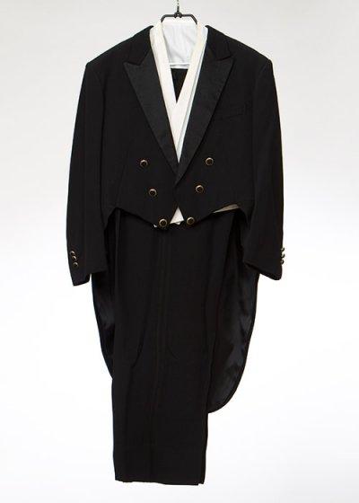 TA6E-45テールコートレンタル(身長175-180 肩幅51.5袖丈59.5ウエスト110-116)黒 燕尾服