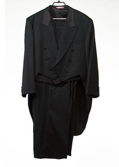 TA7E-48テールコートレンタル(身長180-185 肩幅55袖丈62ウエスト106-122) 黒 燕尾服