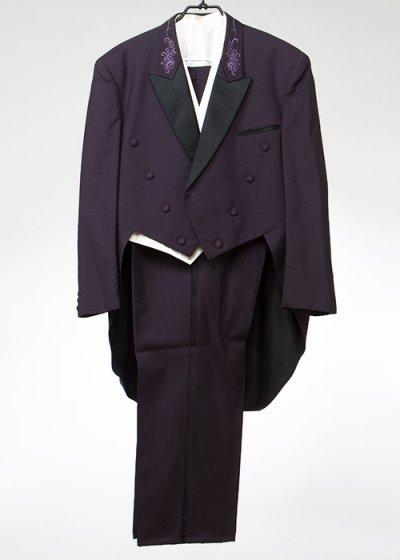 TA7K-55テールコートレンタル(身長180-185 肩幅55袖丈64ウエスト105-124) 濃い紫 燕尾服