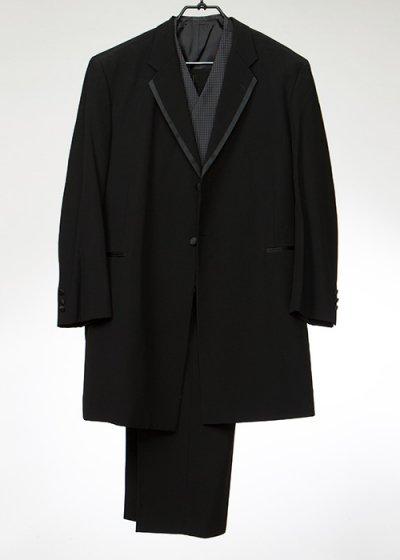 TA8K-46フロックコートレンタル(身長185-190 肩幅54.5袖丈62ウエスト113.5-132)黒